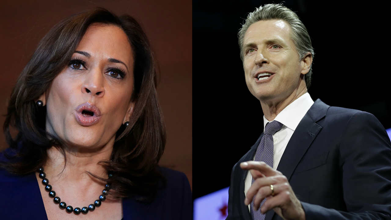 California Senator Kamala Harris (left) is seen beside California Governor Gavin Newsom (right) in this undated composite image.