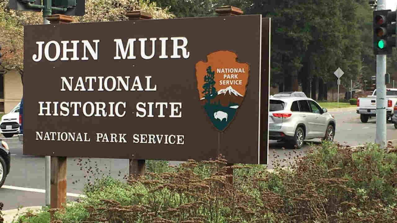 A sign for the John Muir National Historic Site is seen in this undated image.
