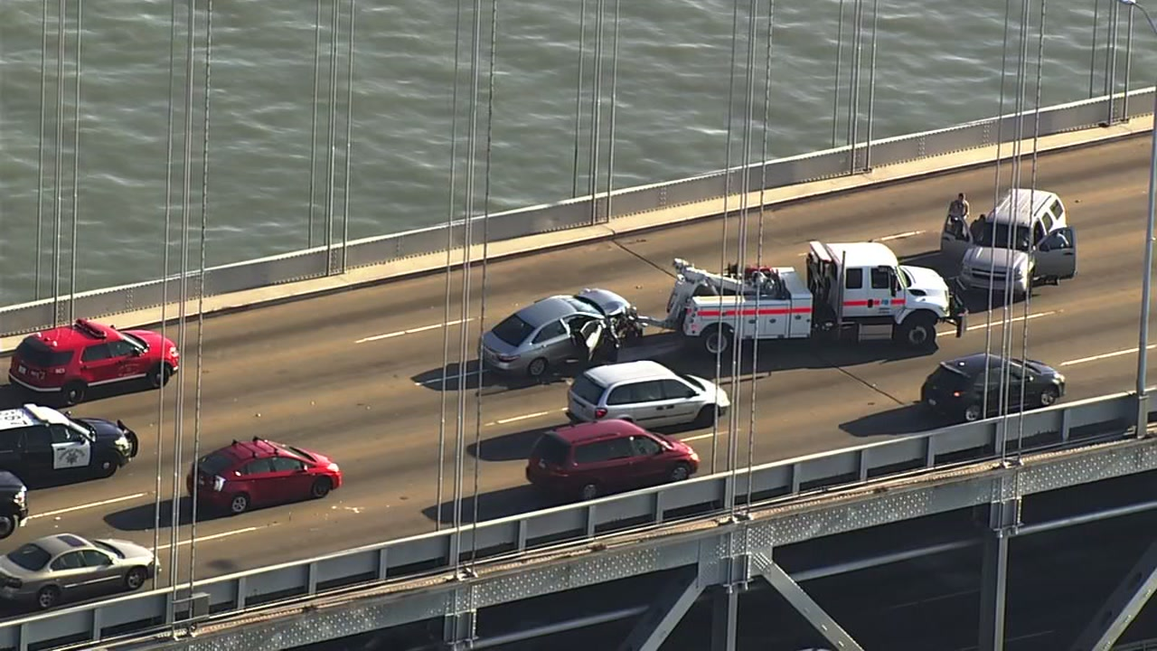 A multi-car accident on the Bay Bridge has slowed traffic before the Thursday evening commute.