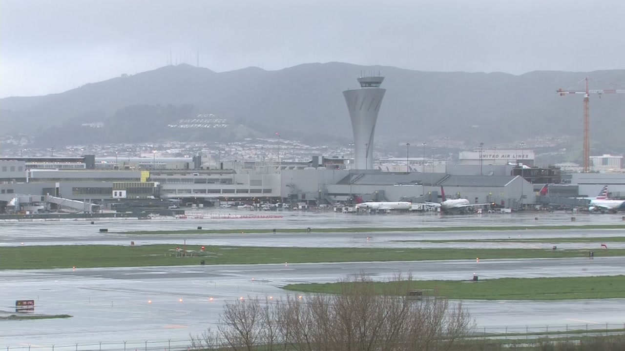 The San Francisco International Airport is seen on a rainy day.