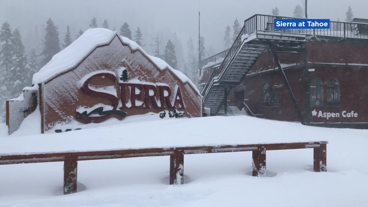 Heavy snow dumped down on Sierra-at-Tahoe ski resort -- 13 inches and counting in 12 hours alone.