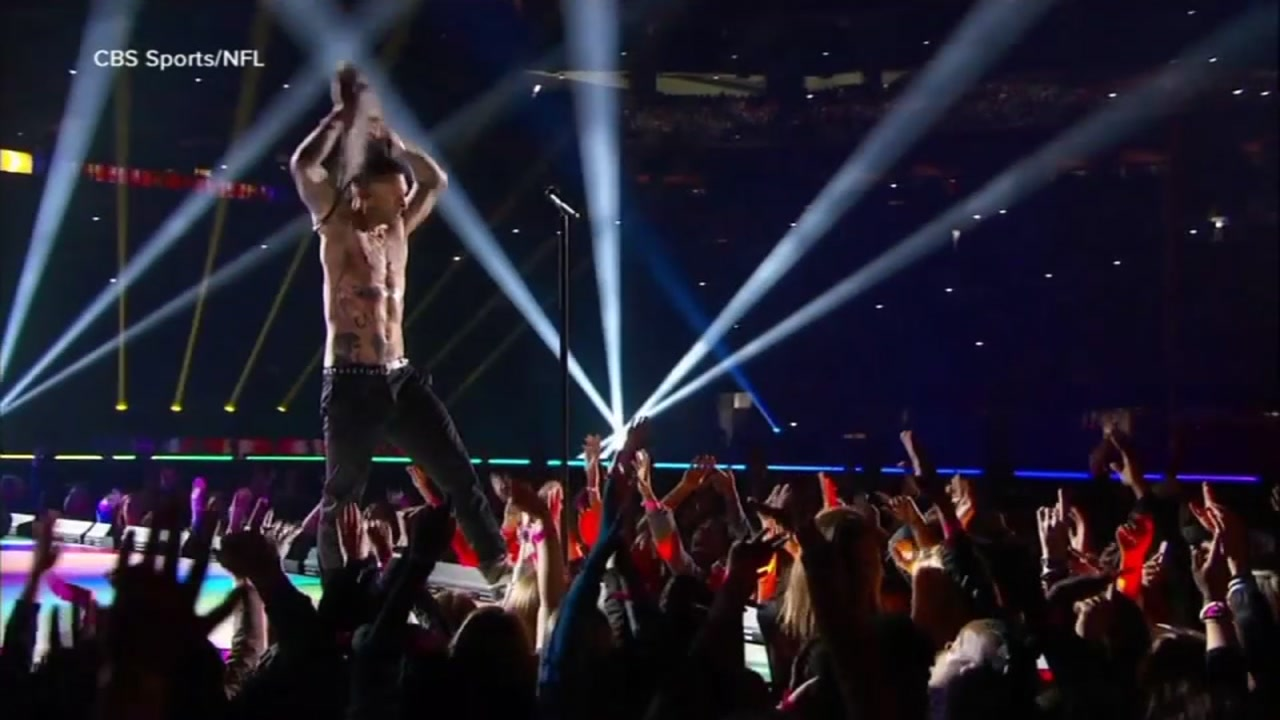 Maroon 5 is seen performing during the Super Bowl LIII halftime show on Sunday, Feb. 3, 2019.