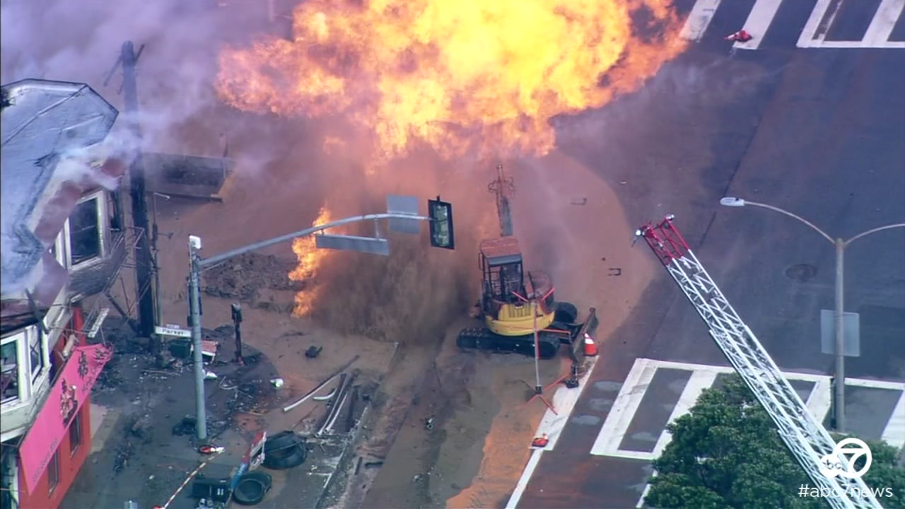 A gas explosion sparked a fire in San Francisco on Wednesday, Feb. 6, 2019.