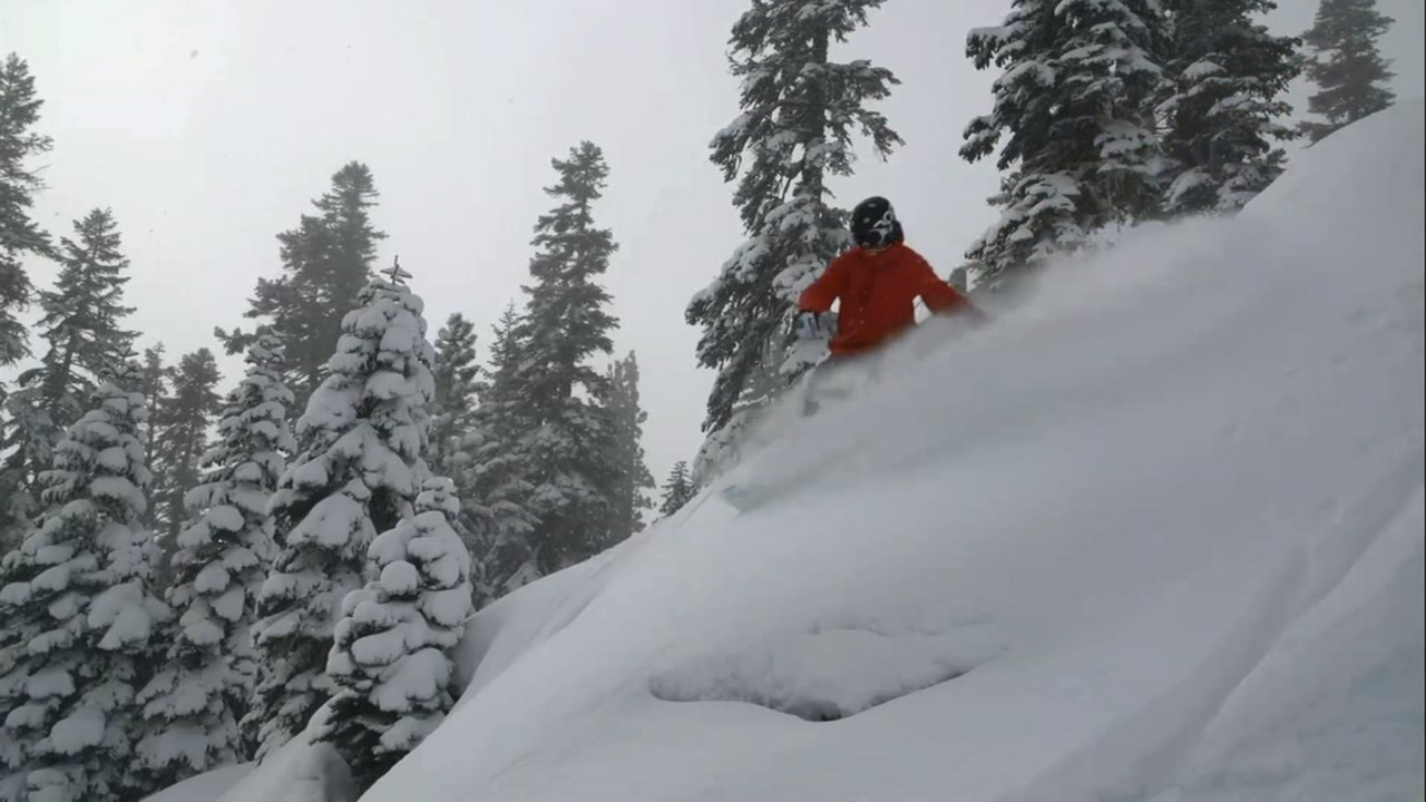 This undated image shows a person snowboarding in Lake Tahoe, Calif.