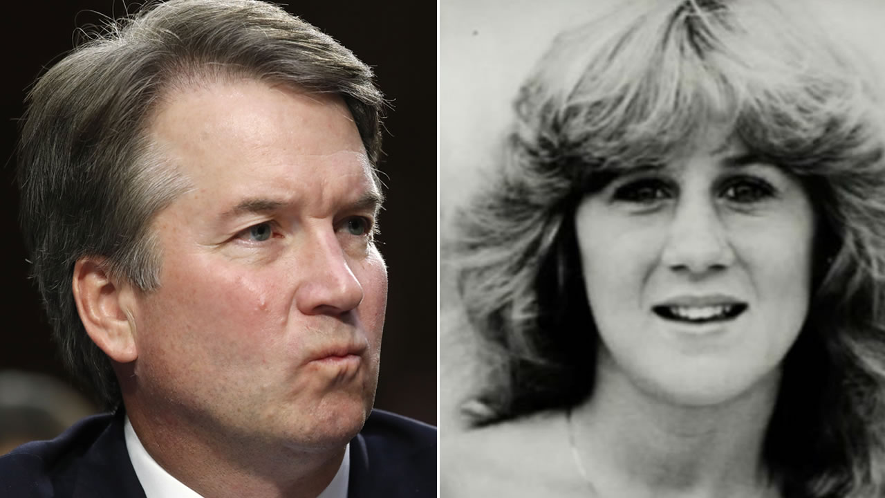 Brett Kavanaugh is pictured next to a high school yearbook photo of Christine Blasey Ford.