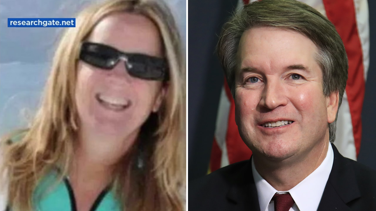 Dr. Christine Blasey Ford, left, Supreme Court nominee Brett Kavanaugh, right.