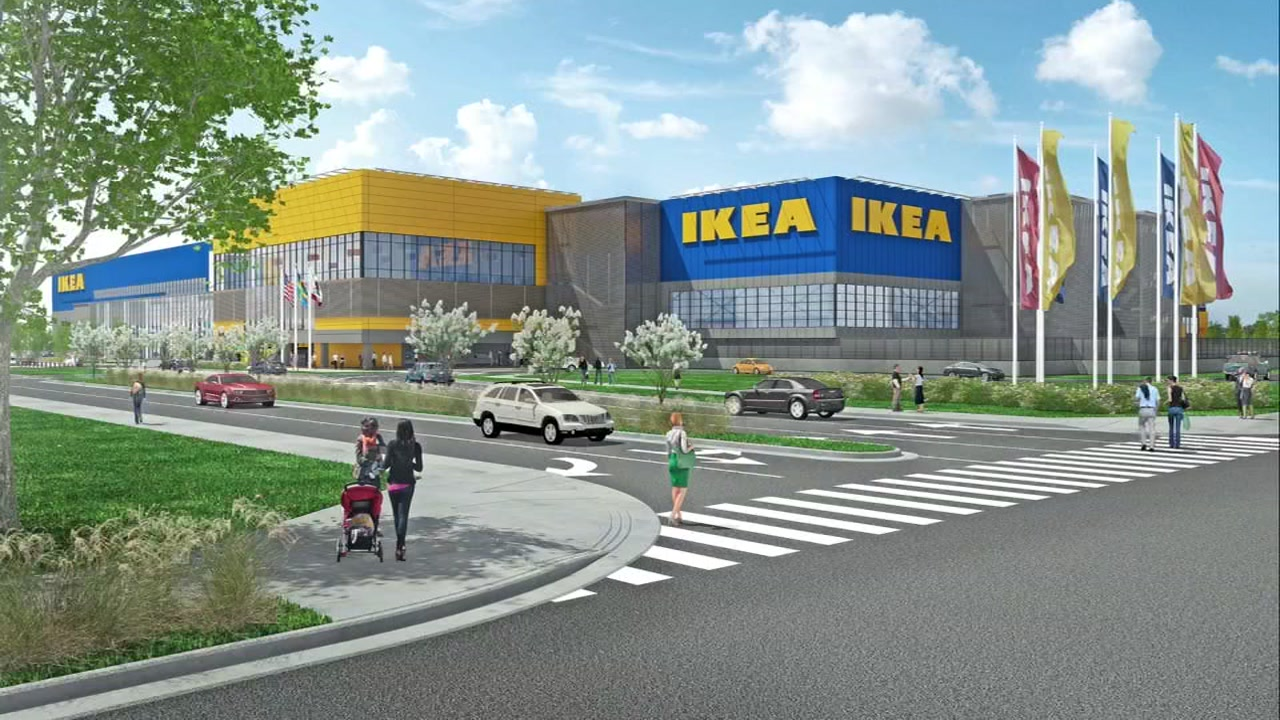 A rendering shows the proposed IKEA in Dublin, Calif.