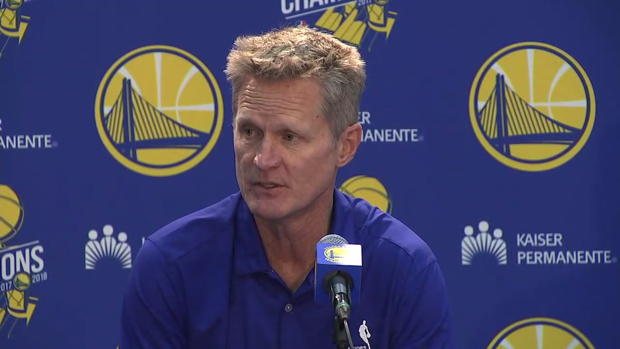 Golden State Coach Steve Kerr spoke about the upcoming season at Warriors Media Day in Oakland, California on Monday, September 24, 2018.