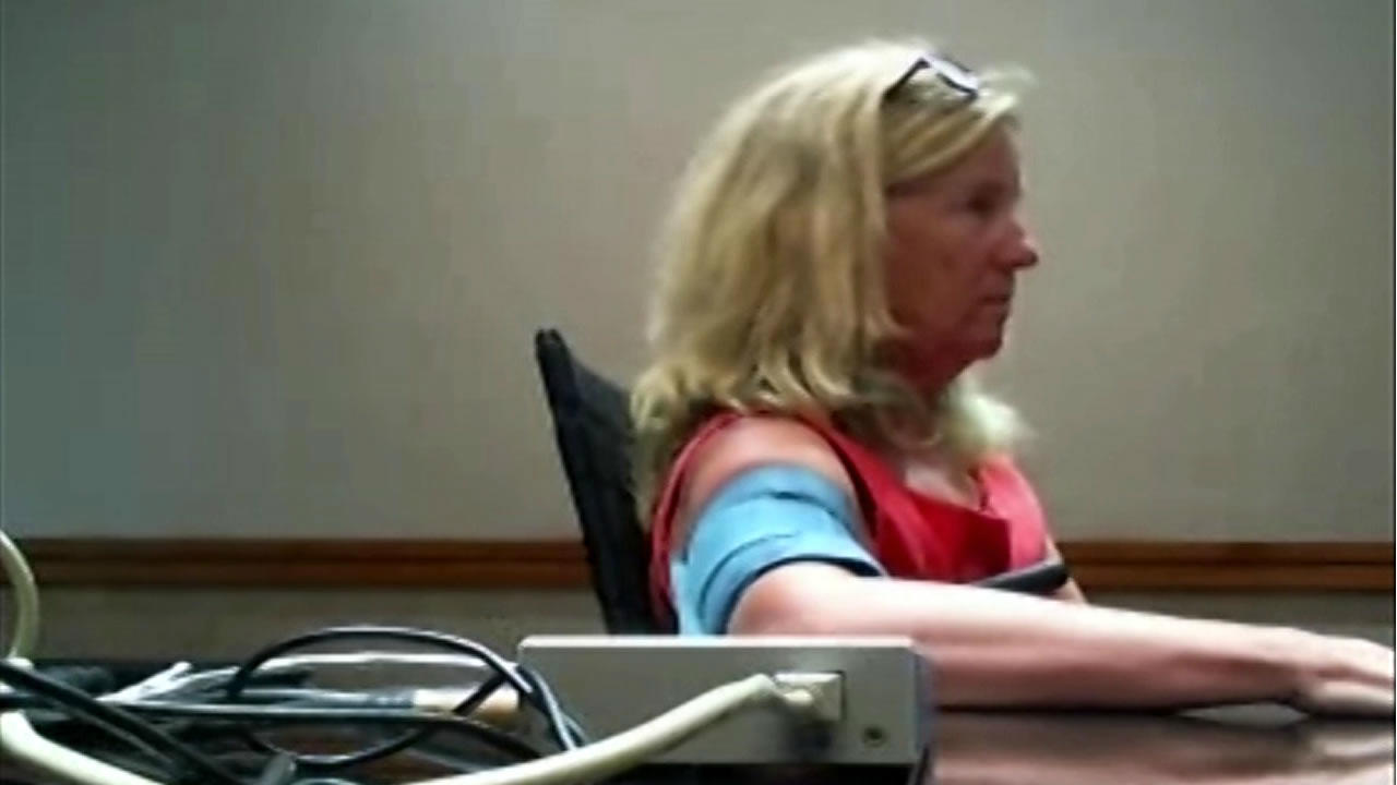 Christine Blasey Ford is seen taking a polygraph test in this undated image.