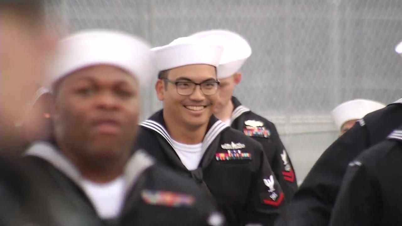 Sailors are seen arriving in San Francisco for Fleet Week on Sunday, September 30, 2018.