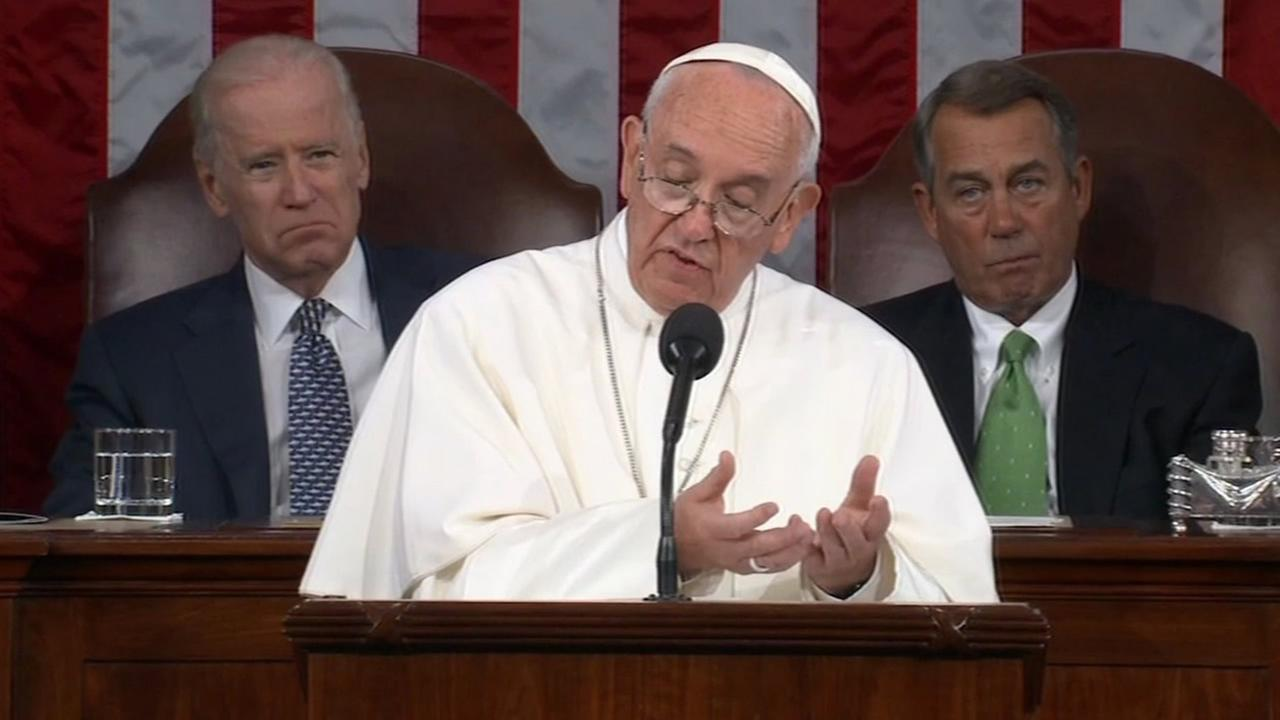 Pope Francis delivered a political message on immigration to Congress on Thursday, September, 24, 2015.