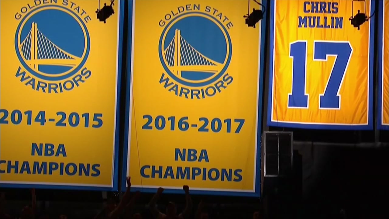A banner commemorating the Golden State Warriors championship is seen in Oracle Arena in Oakland, Calif. in this undated image.