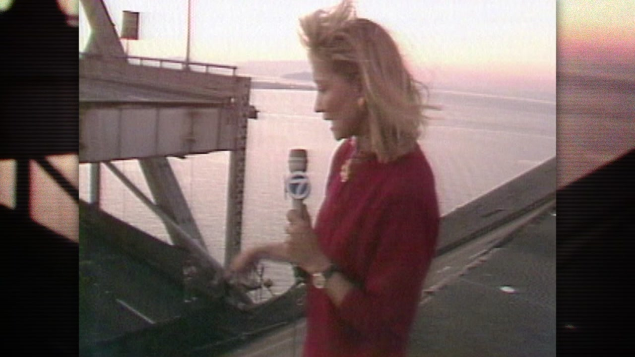 ABC7 reporter Leslie Brinkley is seen on the Oakland-San Francisco Bay Bridge on Oct. 17, 1989.