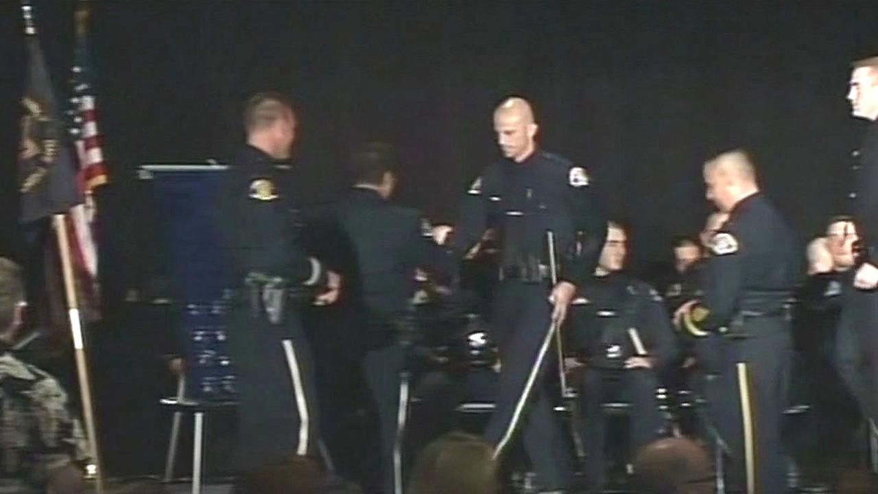 San Jose police officers being sworn in