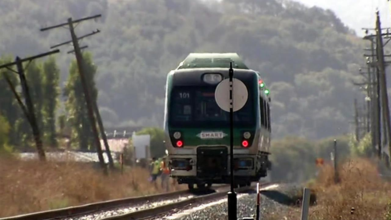 Crews tested brakes and speed on a SMART train in the North Bay on Thursday, October 22, 2015.