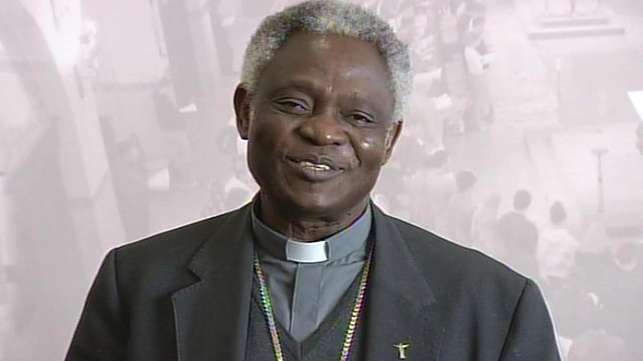 In this image, Cardinal Peter Turkson is seen smiling during his visit to Silicon Valley to discuss climate change on Tuesday, November 3, 2015.