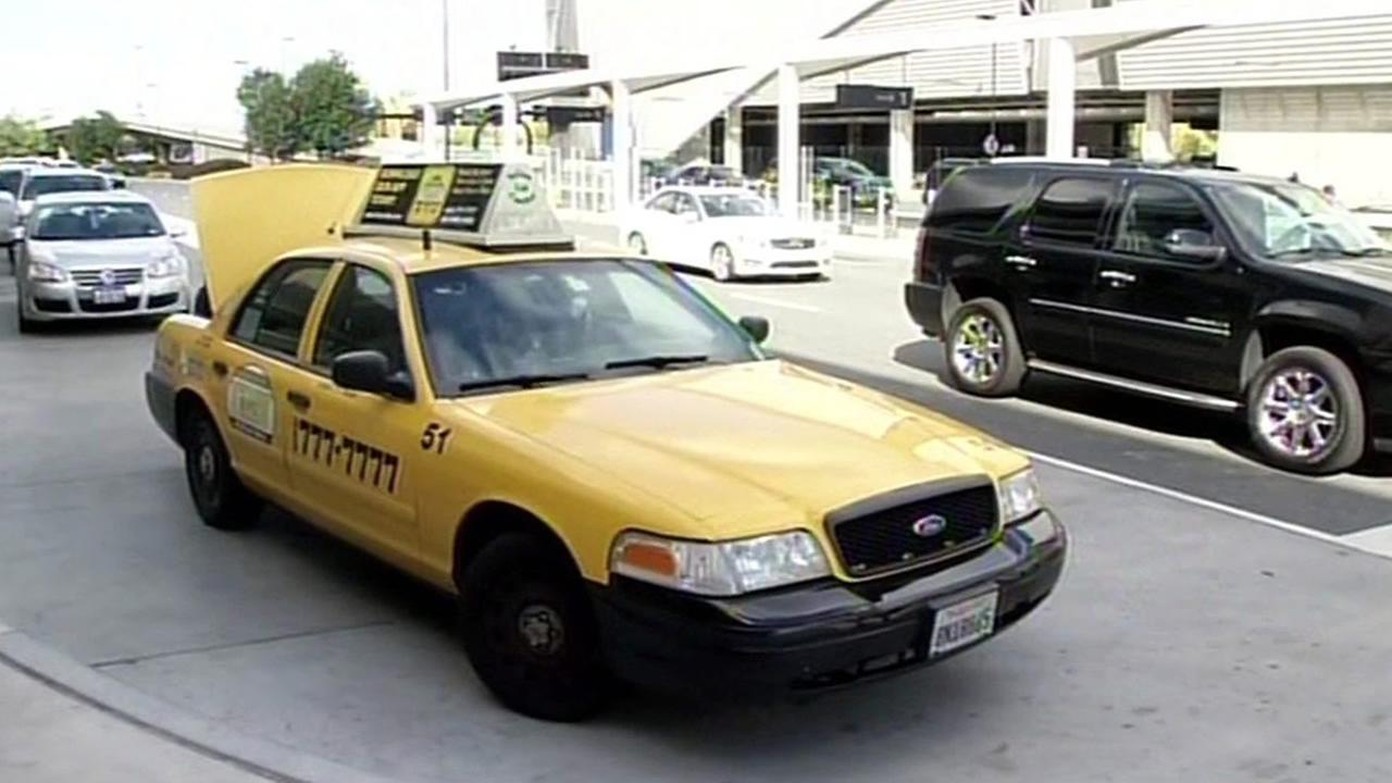 FILE - A taxi is seen at Mineta San Jose International Airport in this undated image.