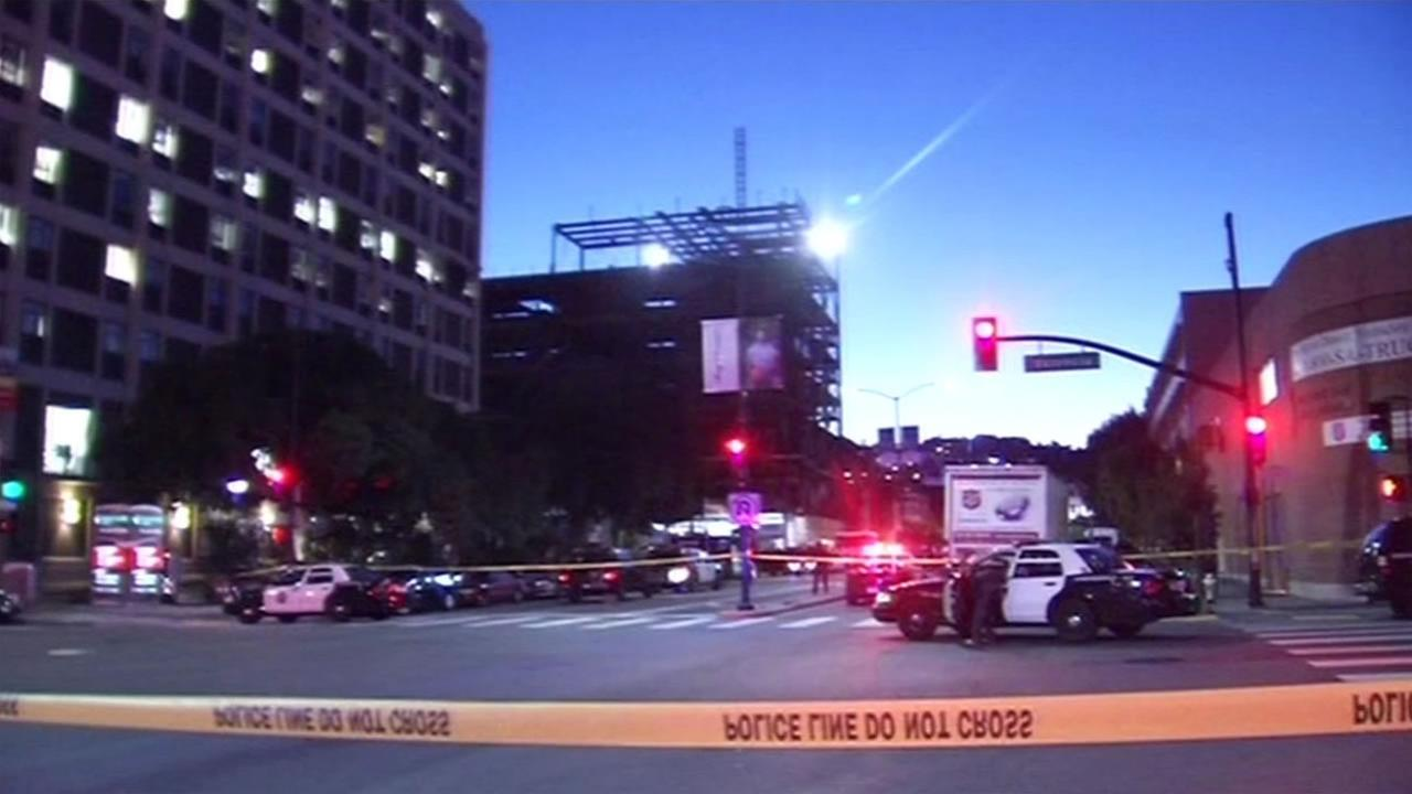 San Francisco police officers were on the scene of an officer-involved shooting near Saint Lukes Hospital in San Franciscos Mission District Nov. 11, 2015.