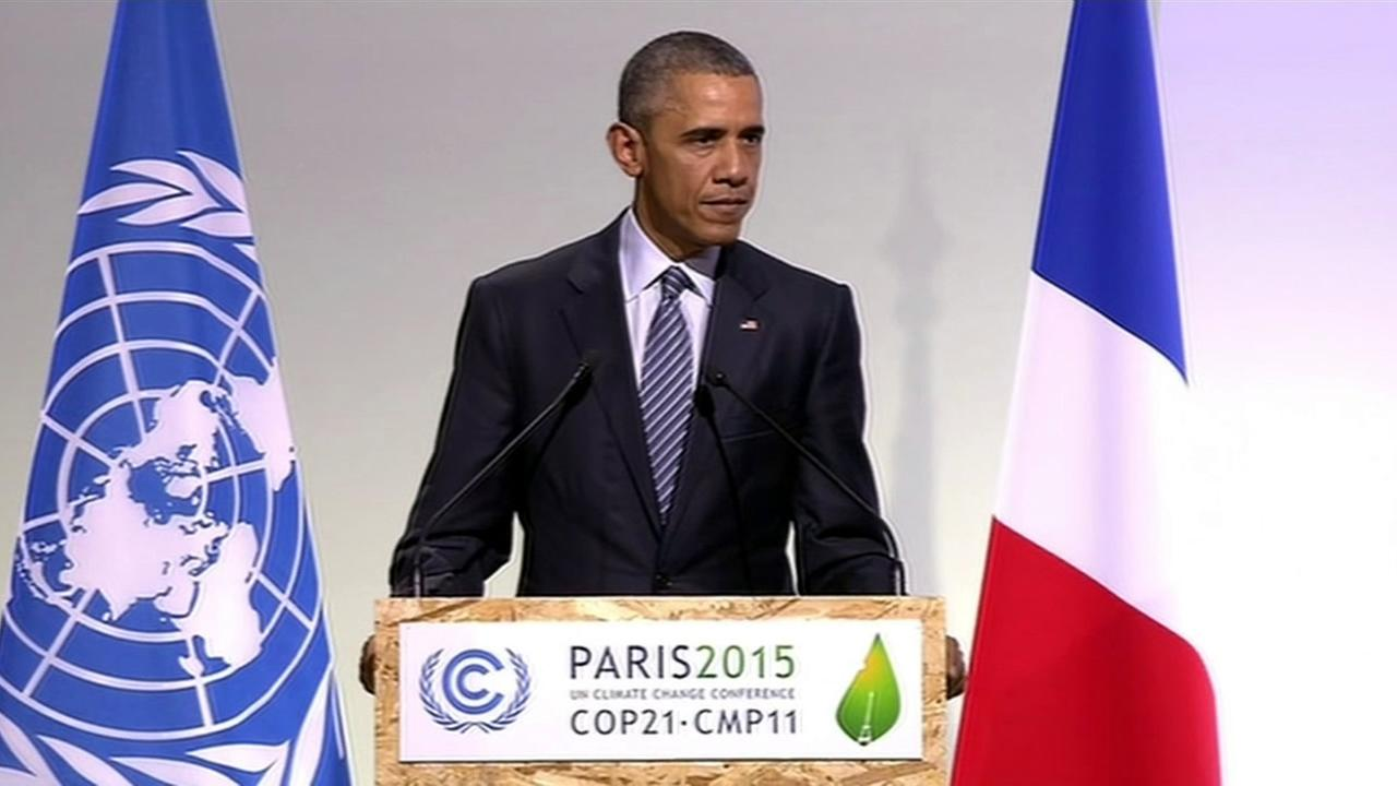 President Barack Obama speaks at the U.N. climate conference in Paris on Monday, November 30, 2015.