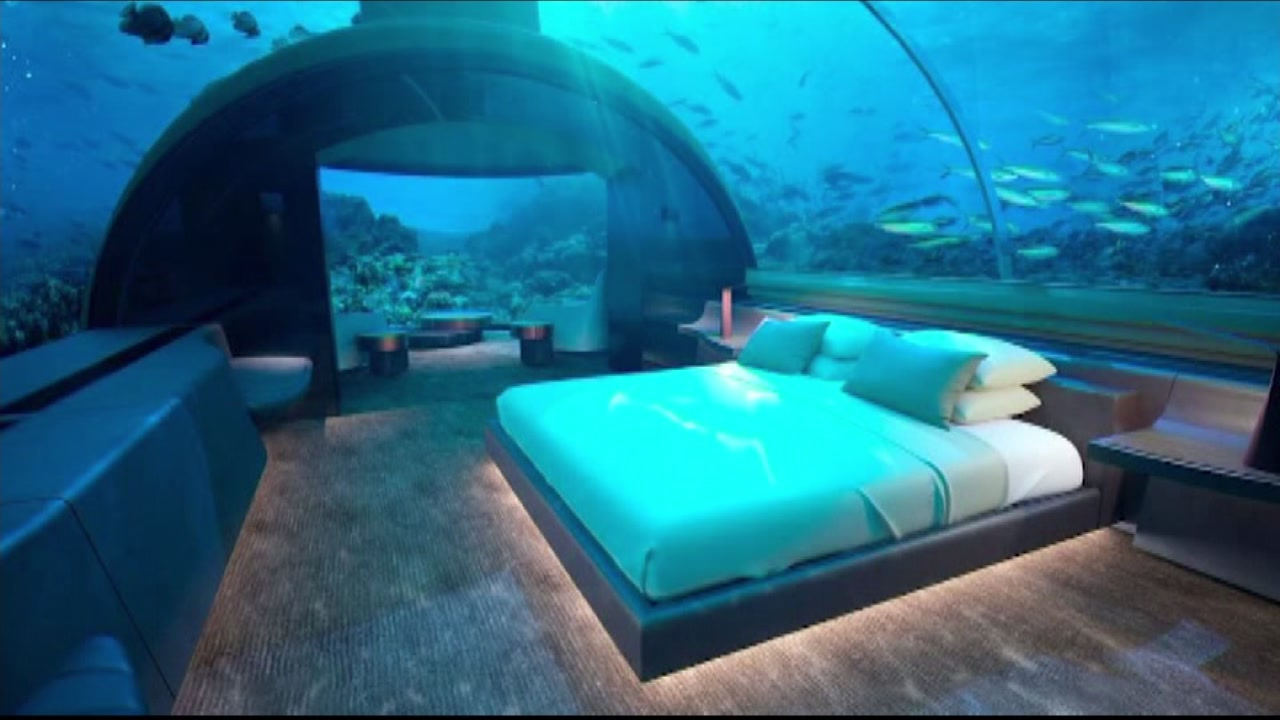 FILE -- The Conrad Maldives Rangali Island Hotel is a two-story villa more than 15 feet below the Indian Ocean.