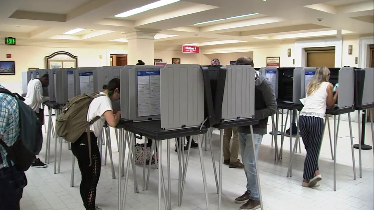 Voters are seen marking their ballots in San Francisco in this undated image.