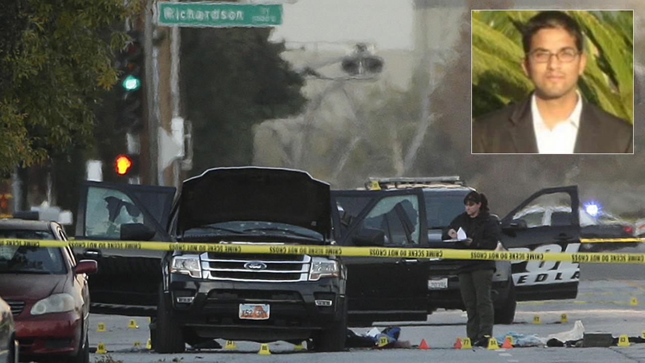 An investigator looks at a Black SUV that was involved in a police shootout with suspects, Thursday, Dec. 3, 2015, in San Bernardino, Calif. Insert: Suspect Syed Farook.