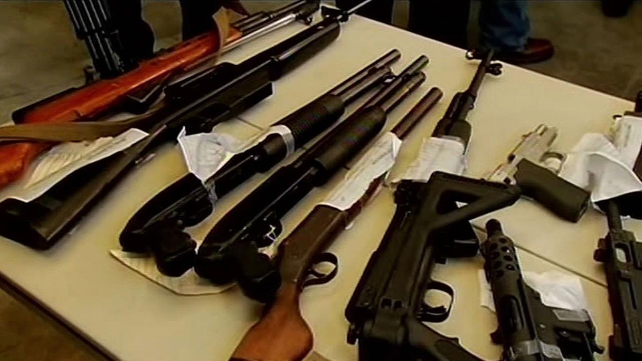 guns on a table