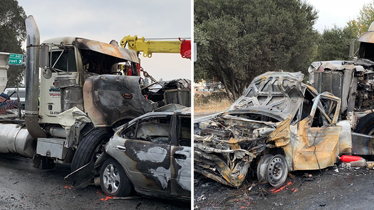 This big rig and about 20 cars were involving in a crash on Highway 1 in Santa Cruz, Calif. on Tuesday, Nov. 13, 2018.