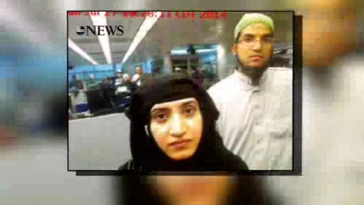 The San Bernardino mass shooting suspects, Syed Rizwan Farook and Tashfeen Malik, seen in a photo obtained exclusively by ABC News entering the U.S.