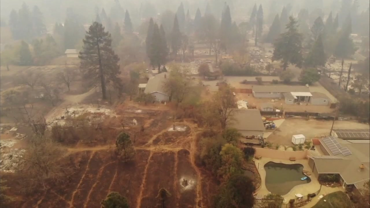 This undated photo shows damage from the Camp Fire in Butte County, Calif.