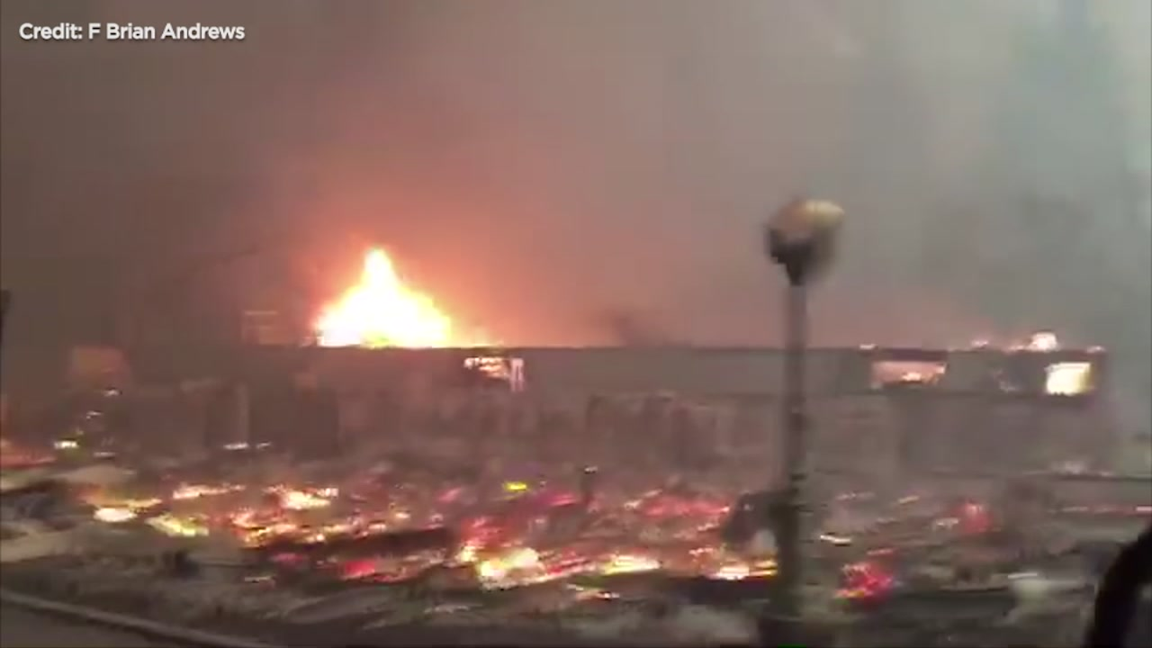 Former firefighter Brian Andrews captured heartbreaking video of his hometown of Paradise burning to the ground.