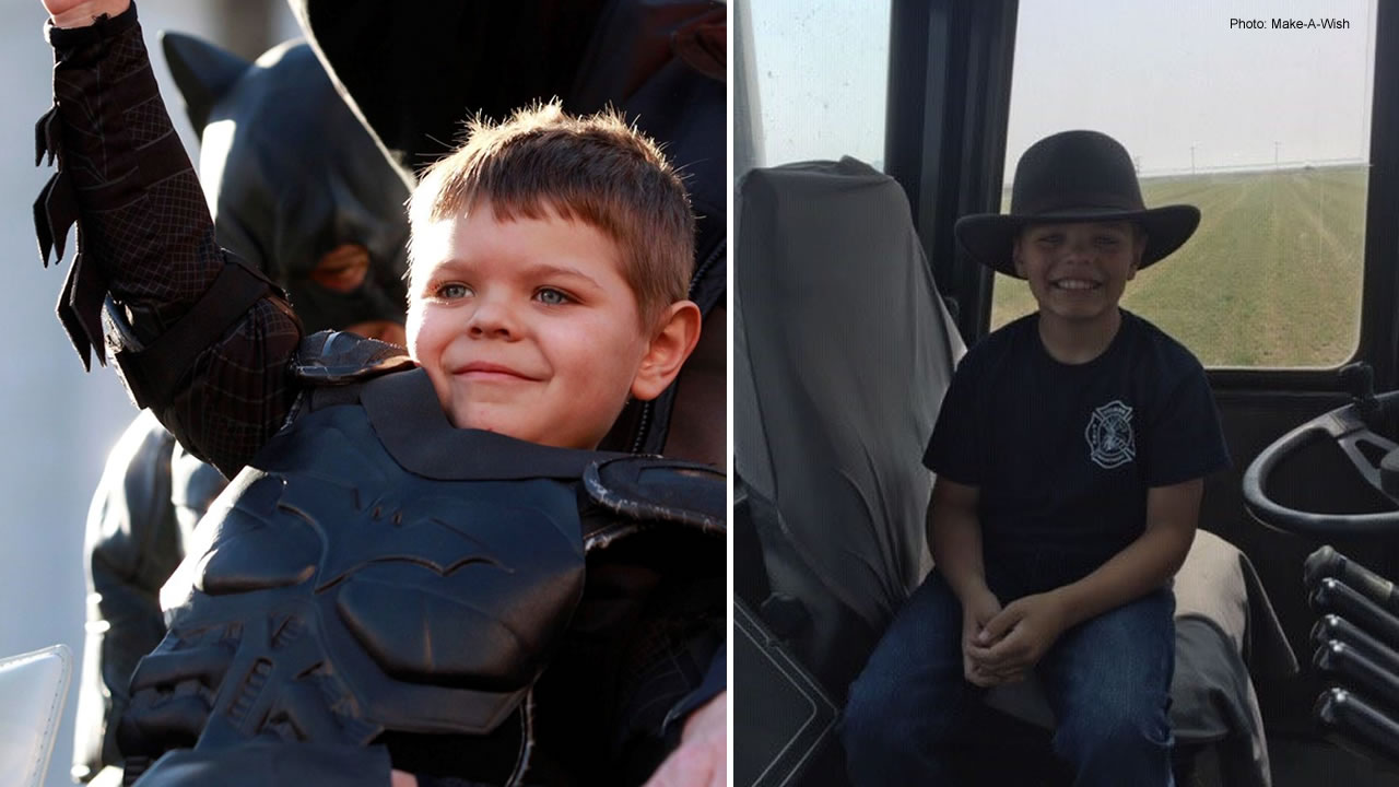 Batkid Miles Scott is pictured in 2013, left, and hes pictured in 2018, right.
