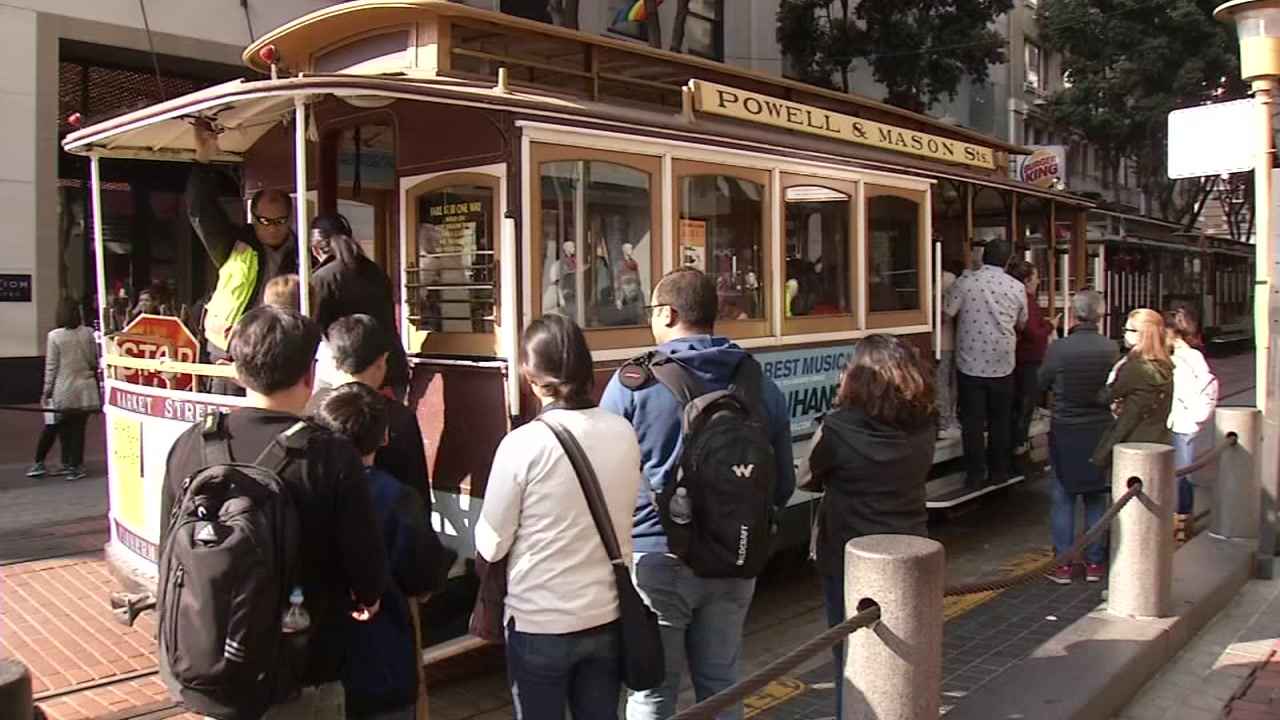 A cable car is seen in San Francisco on Tuesday, Nov. 20, 2018.