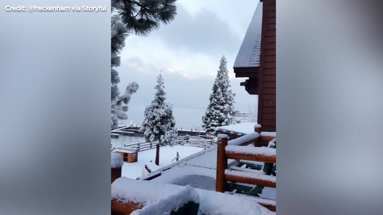 People celebrating Thanksgiving in the Sierra were treated to the first snowfall of the season.