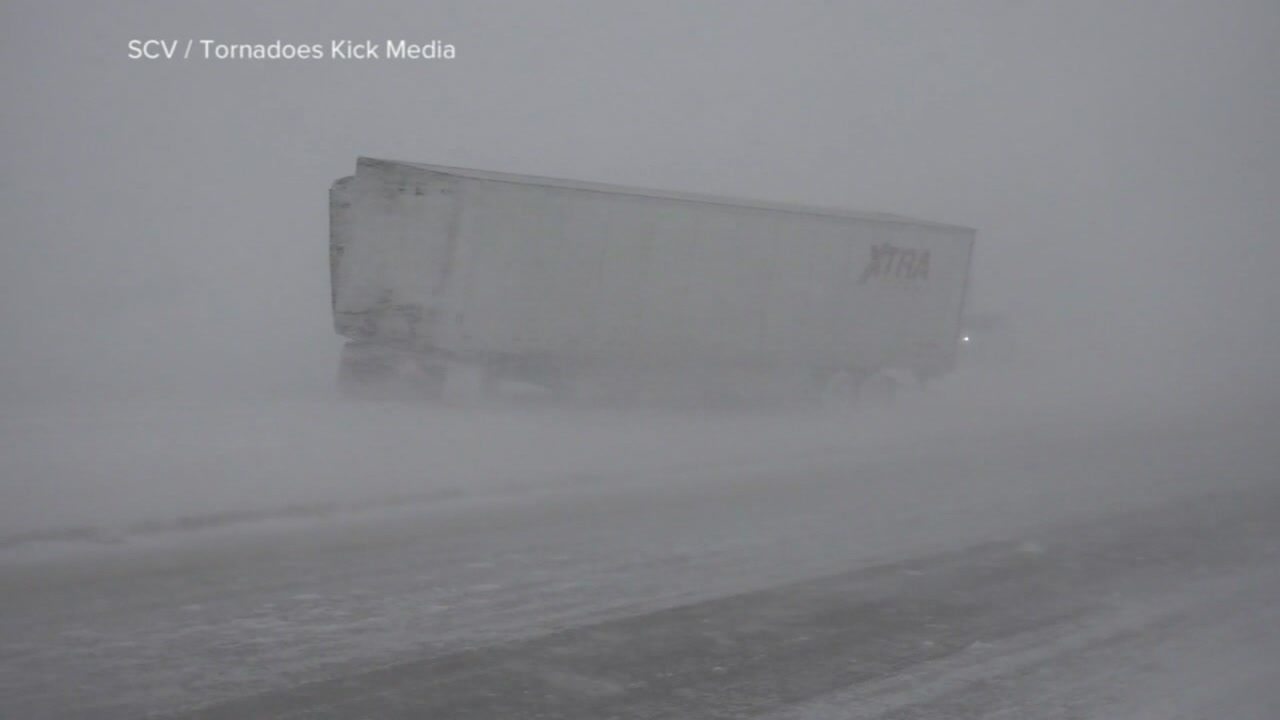 This undated image shows blizzard conditions in the Midwest.