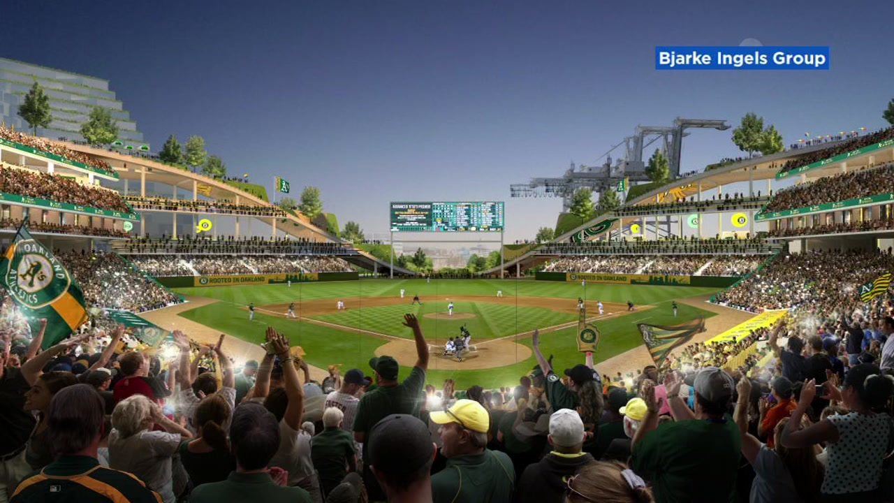 This undated artists rendition shows the proposed Oakland Athletics ballpark at Howard Stadium.
