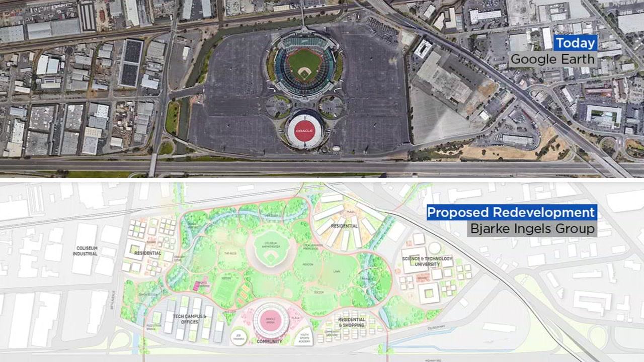 Artist renderings show what the Oakland Coliseum site looks like before and after a proposed Oakland Athletics ballpark in this undated image.