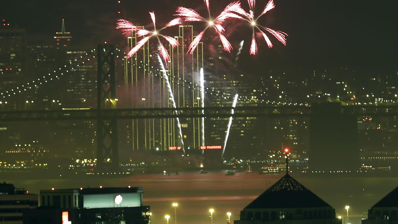 Fireworks fill the air in the bay over the Oakland and San Francisco skylines  as part of New Years Eve celebrations  in a view from Oakland, Calif. on Jan. 1, 2014. (AP Photo)