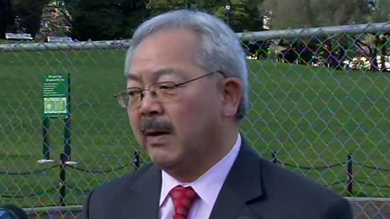 San Francisco Mayor Ed Lee talks to reporters
