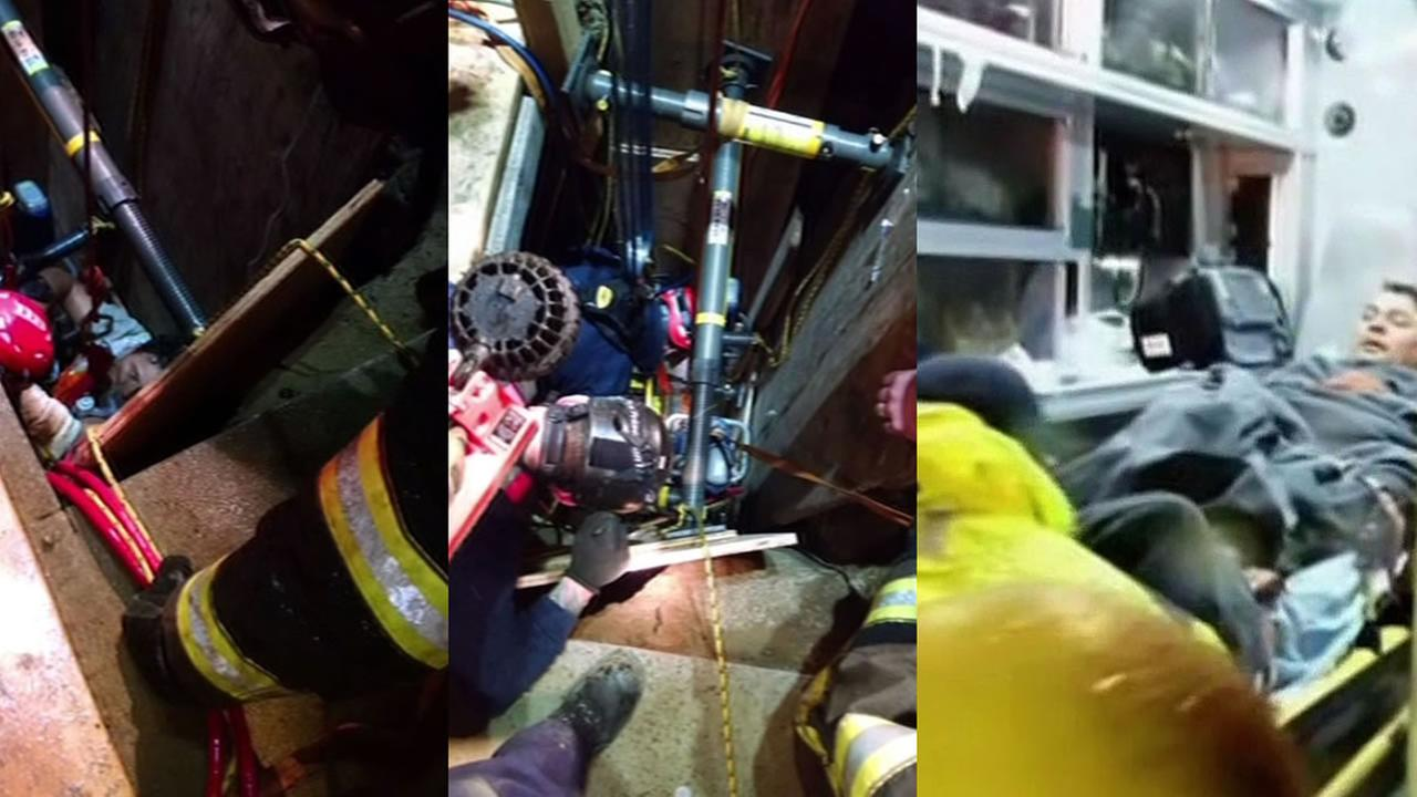 fire crews worked to free a man in a trench