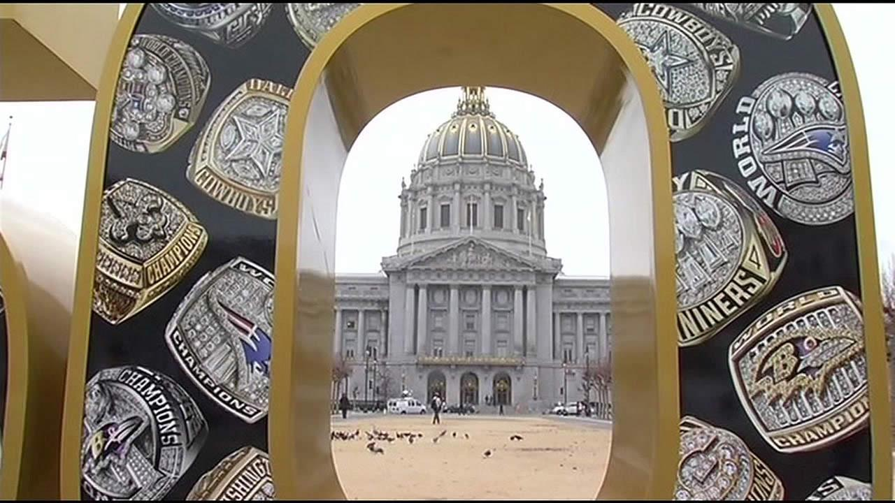 A Super Bowl 50 statue is seen in front of San Francisco City Hall in Calif. in this undated image.