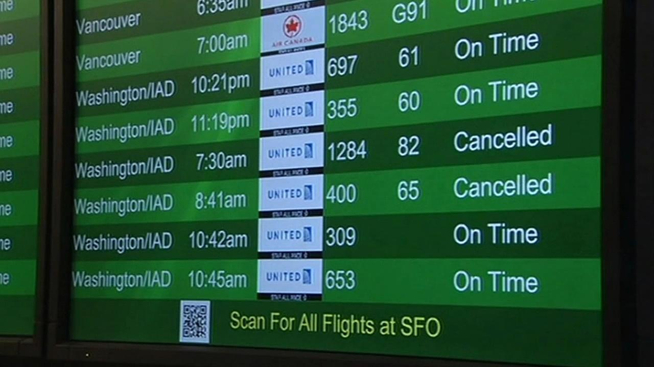 cancelled flights at SFO on departure screen