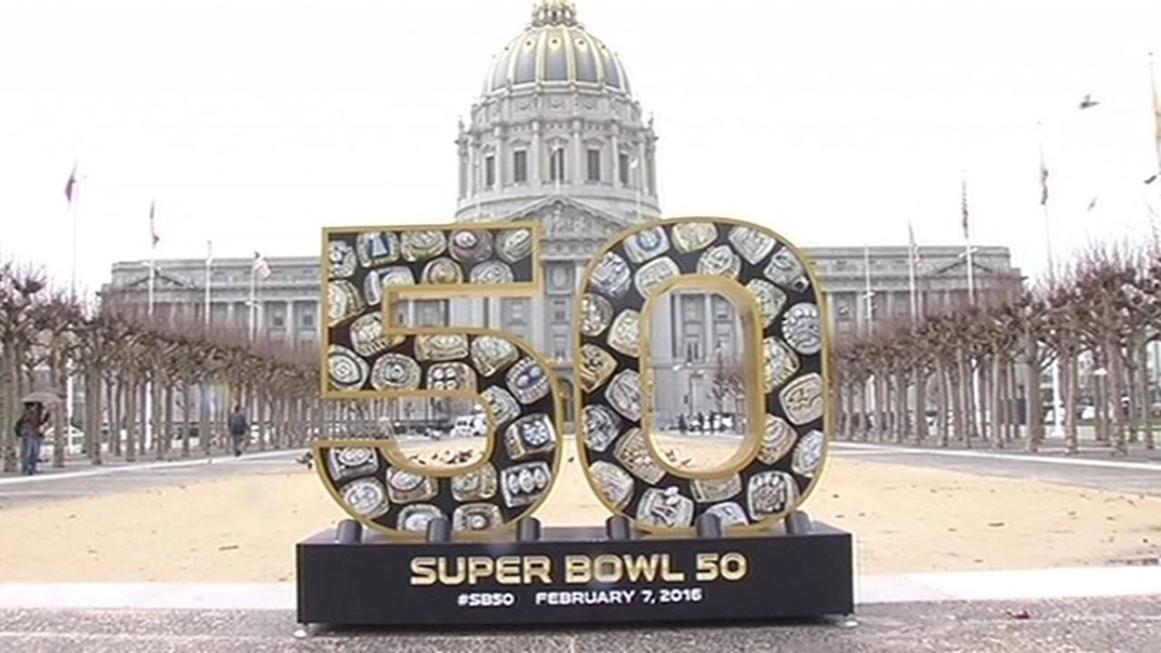 large Super Bowl 50 sign in front of SF City Hall