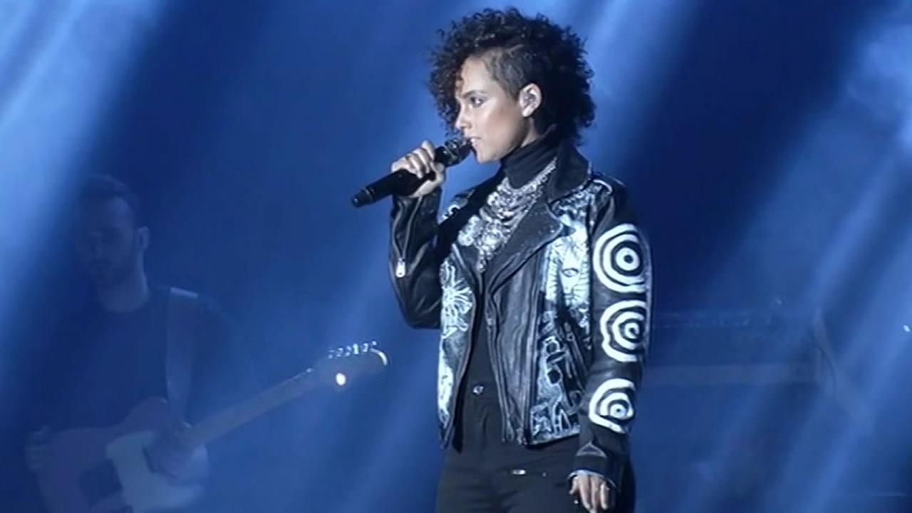 Alicia Keys performs at Super Bowl City