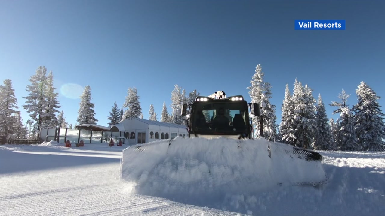 A snowcat is seen shaping snow in this undated image.