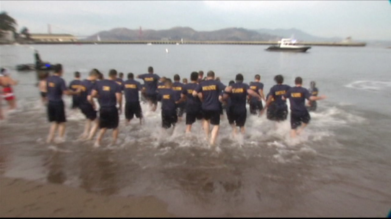 Participants in Brave the Bay are seen running into San Francisco Bay in this undated image.