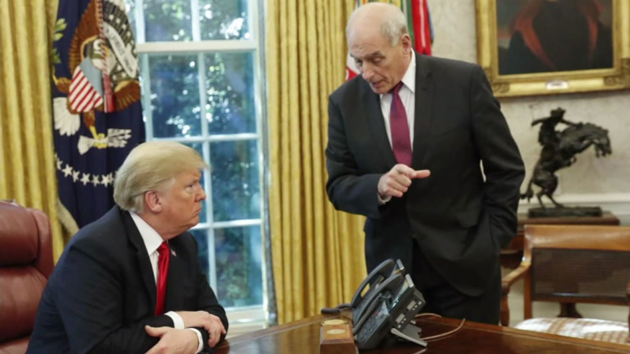 President Donald Trump and John Kelly are seen in the Oval Office in this undated image.