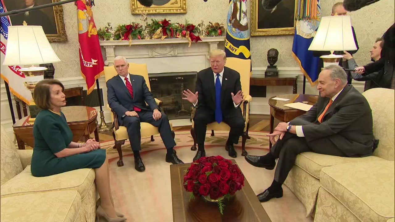 A closed-door meeting between President Donald Trump and congressional leaders is pictured on Tuesday, Dec. 11, 2018.
