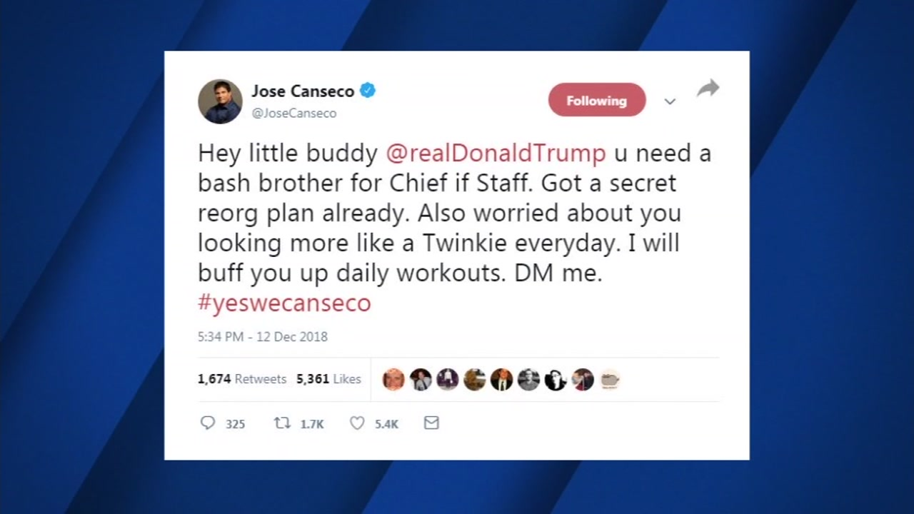 Former Oakland As slugger Jose Canseco is on twitter telling President Trump that he wants to be his next Chief of Staff.