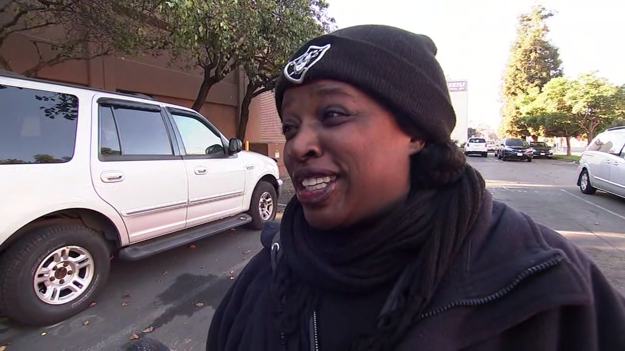 This image shows Raiders fan and Oakland, Calif. resident Shauntel Miller on Thursday, Dec. 13, 2018.